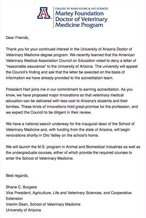 Coe Rejects Arizona Veterinary Program Vin